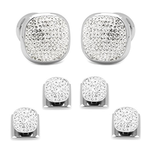 STAINLESS STEEL WHITE PAVE CRYSTAL STUD AND CUFFLINK SET
