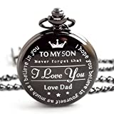 "New Version Pocket Watch ""To My Son - Love dad "" Father to Son Gifts From a Father"