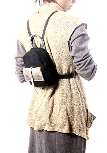 Handmade Chic Small Waterproof Beeswax Black Canvas and Leather Backpack, Cute Everyday Bags