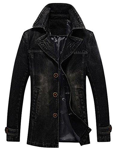 Lapel Single Breasted Denim - Oberora Mens Casual Lapel Single Breasted Denim Jean Jacket Blazer Trench Coat Outerwear Black S