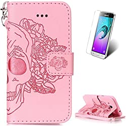 Samsung Galaxy J3 2016 Leather Wallet Case [with Free Screen Protector],KaseHom Skull Rose Flower Embossed Folio Magnetic Flip Stand PU Leather Protective Case Cover Skin Shell,Pink #1