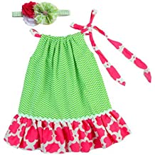 Little Girls Elegant pillowcase dress and matching headband set - Green Quatrefoil. Size 2T to 5T