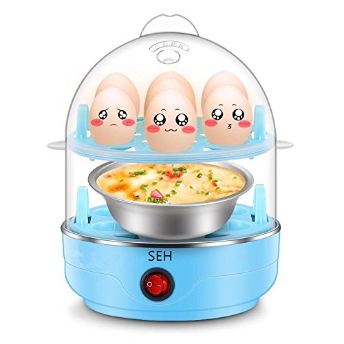 SEH- Go Rapid Egg Cooker,Double layer Multi Function,Big Capacity,Can Adjustable size.with Poacher and Steamer Attachments (2 Layers) ...