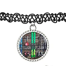 Photograph of Skiing Equipment Laid Out Choker Pendant Charm Necklace
