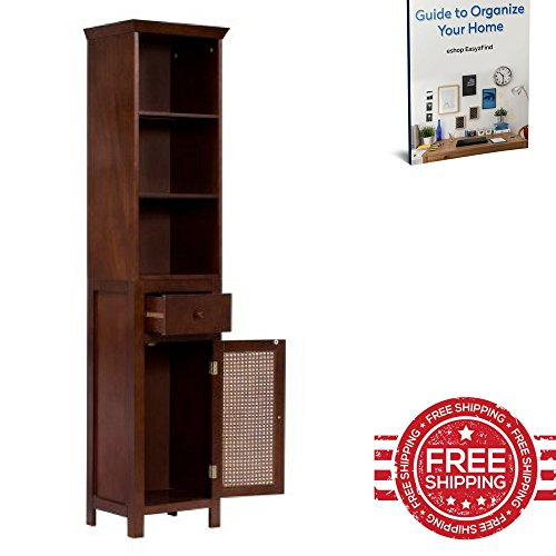 Tall Storage Cupboard Bathroom Towels Kitchen Bedroom Narrow Furniture Shelves Cabinet Drawer Home Indoor Store Organizer & Ebook by Easy 2 Find. (Tall Metal Narrow Shelves)