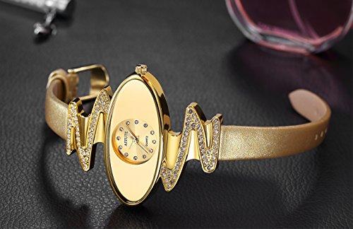 Retro Gold Leather Strap Brand Women Watch Strass Rhinestone Jewelry Quartz Wrist Watches
