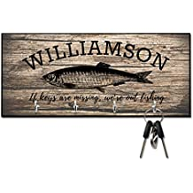 Personalized Rustic Wood Fishing If Keys Are Missing Key Hanger