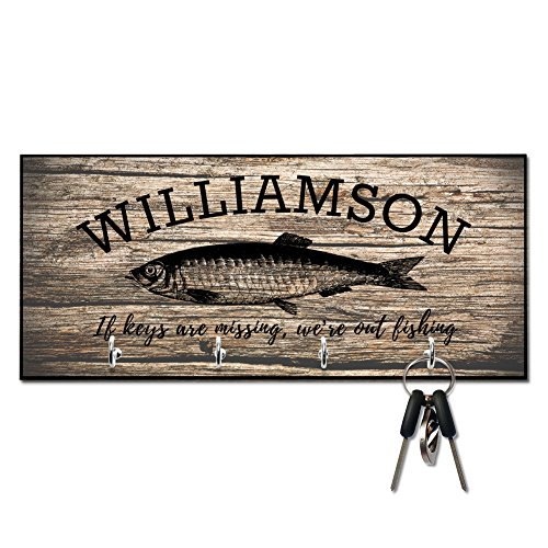 Personalized Rustic Wood Fishing If Keys are Missing Key (Gone Fishing Gift)