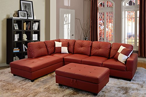 Eternity Home Rosanna 3 Seated L-Shape Sofa Set with Ottoman, Left Facing, Red (Room Living Set Suede)
