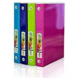 BAZIC 1'' 3-Ring Tinted View Binder with 2 Pockets, Assorted Colored Tinted Films (3168-24)