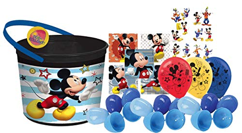 Mickey Mouse Toddler Sized Easter Egg Loot Bucket & 12 Blue Toy-Filled Easter Eggs! Plus Egg Hunting Easter Button! -