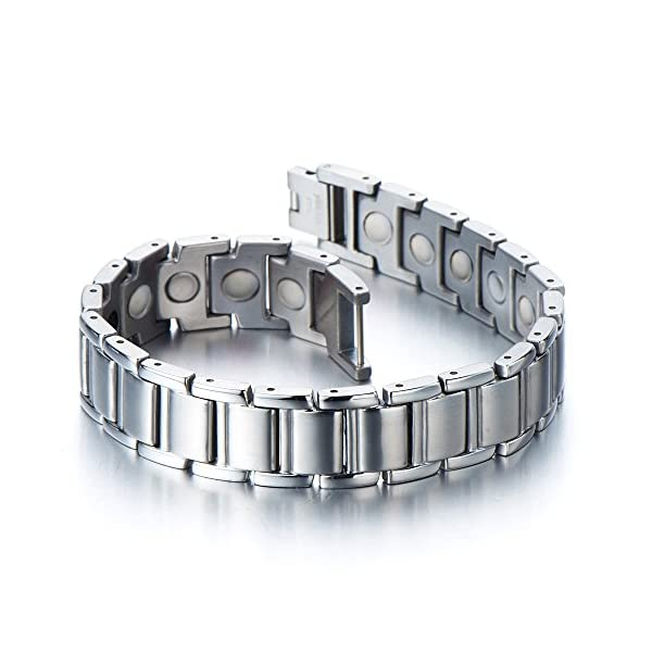 Stainless Steel Mens Magnetic Link Bracelet with Free Link Removal Kit Jewelry for Men