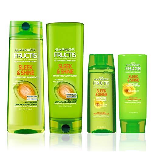 Garnier Fructis Sleek & Shine 12.5 fl. oz. + 3 fl oz Kit - 1 Shampoo + 1 Conditioner (Personal Size + Travel Size)