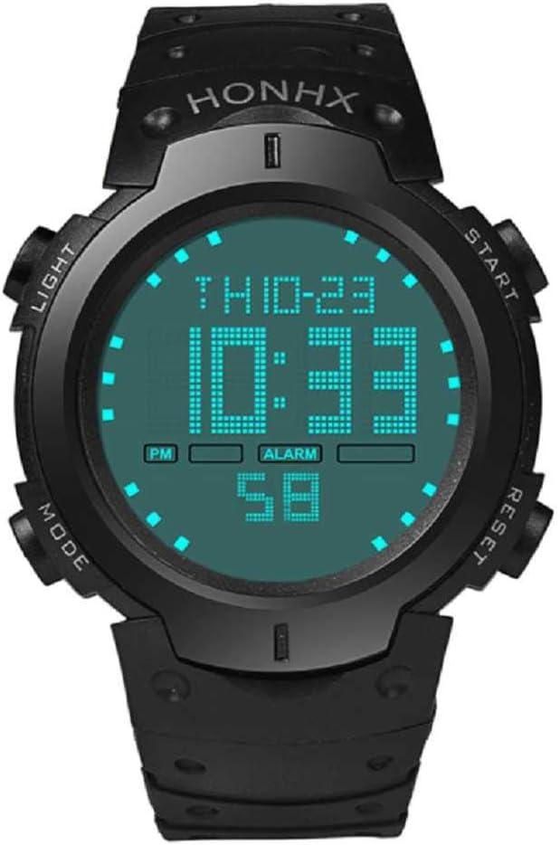 WSSVAN Reloj deportivo, reloj multifuncional LED electrónico de moda para hombres reloj digital LCD fecha caucho resistente al agua reloj luminoso (Negro)