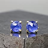 14k Yellow Gold Stud Earrings with Rose Cut Blue Sapphire