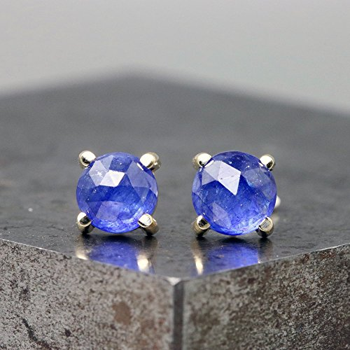 14k Yellow Gold Stud Earrings with Rose Cut Blue Sapphire by Sarah Hood Jewelry