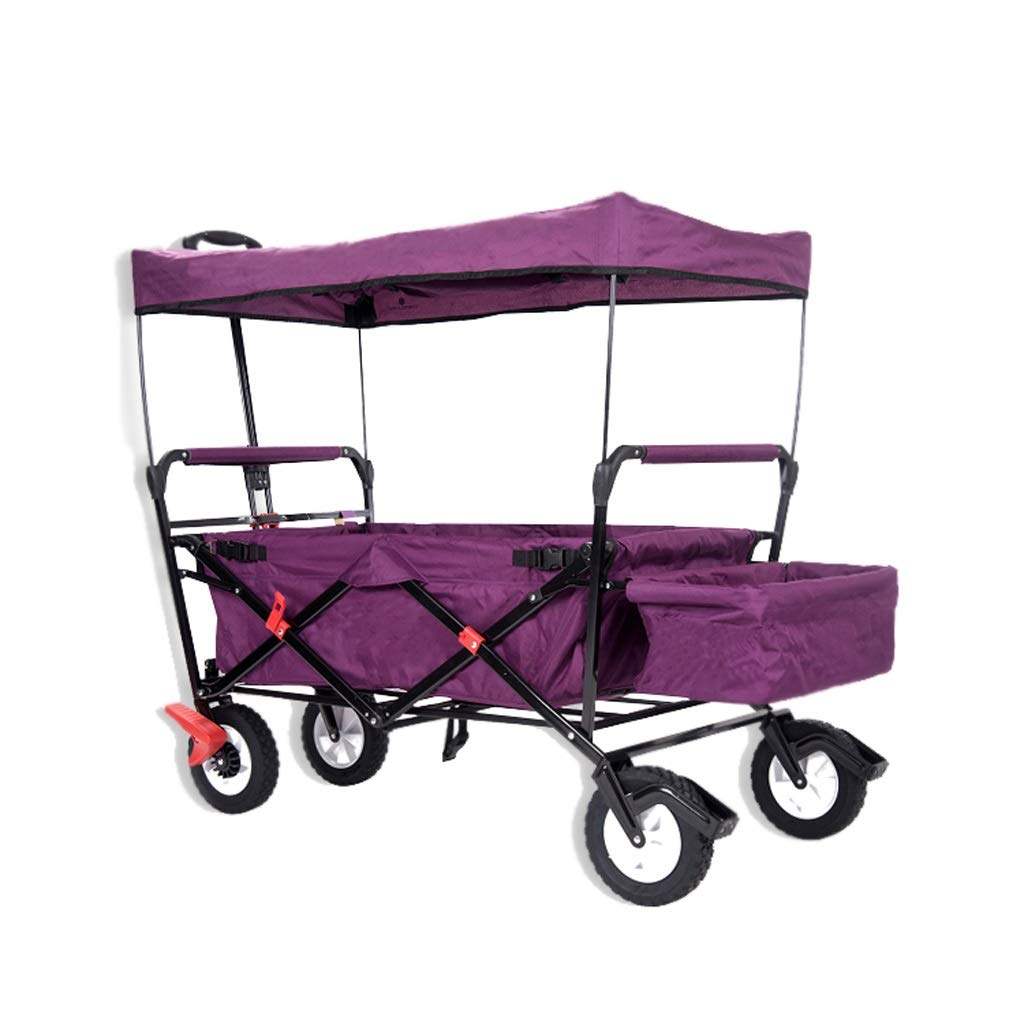 足ブレーキが付いているトロリー庭車の買物車の日焼け止め輸送車実用車 (色 : 紫の) B07RL6NJGZ 紫の