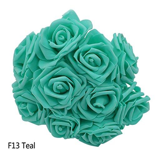 25 Heads 8CM New Colorful Artificial PE Foam Rose Flowers Bride Bouquet Home Wedding Decor Scrapbooking DIY Supplies F13teal