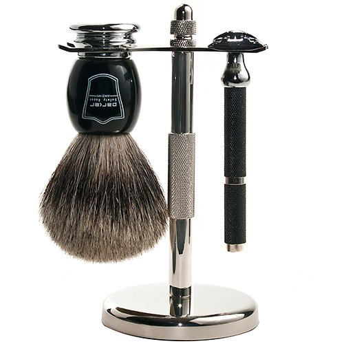 Parker Safety Razor, Men's 71R Safety Razor Shave Set - Includes Deluxe Pure Badger Brush, Chrome Stand & Parker 71R Double Edge Razor