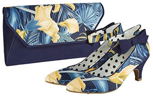 Ruby Shoo kvinnors marinblå blommig Deia kuvertväska