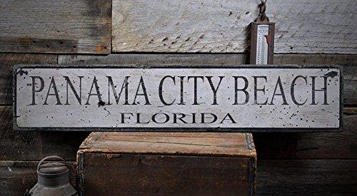 Vintage PANAMA CITY BEACH, FLORIDA - Rustic Hand-Made Wooden USA City Sign - 5.5 x 24 - Shops Panama Beach City