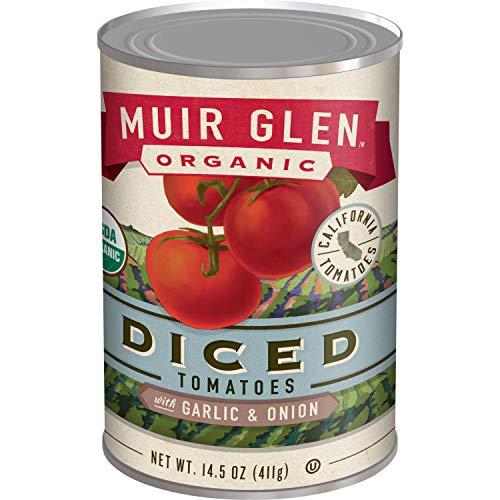 - Muir Glen Organic Diced Tomatoes, Garlic & Onion, 14.5 oz