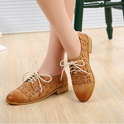 Hoxekle Donna Scava Fuori Allacciata Traforata / British Style / Platform Oxford Shoes / Vintage Oxford Shoes Brown