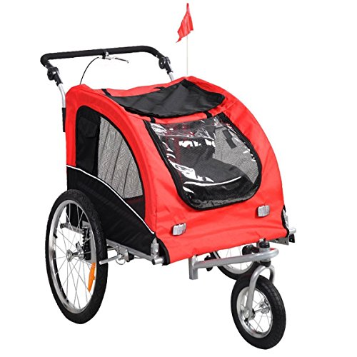 Giantex Pet Dog Bike Trailer Bicycle Trailer Stroller Jogging w/ Suspension Red by Giantex