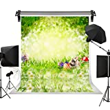 Kate Spring Easter Photography Props Red Eggs Flowers Photo Studio Backgrounds Green Natural Scenery Cute Rabbit Backdrops 10x10ft(3x3m)