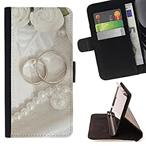 For Apple Apple iPhone 4 / iPhone 4S,S-type Anillo Pareja- Dibujo PU billetera de cuero Funda Case Caso de la piel de la bolsa protectora