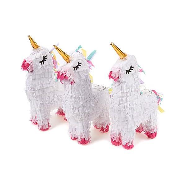 Pack de 3Miniatura Unicorn Piñatas–mini-sized Color Blanco pinatas mexicana para fiesta de cumpleaños, cinco de mayo, fiestas, celebraciones–5.25x 8.7x 2.1inches