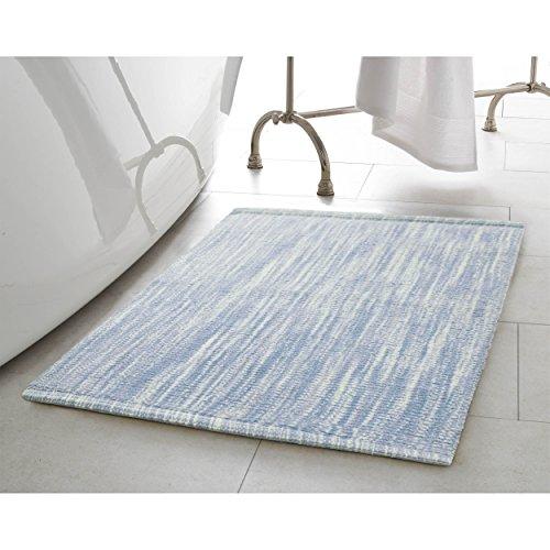 Jean Pierre Taylor Reversible Cotton Slub 17x24 in. Bath Rug, Pale Blue