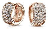 Bling Jewelry Pave CZ Wide Rose Gold Vermeil Huggie Hoop Earrings