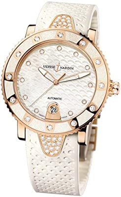 New Ladies Ulysse Nardin Lady Diver Diamonds 18K Gold Auto White Watch 8106-101E-3C/10