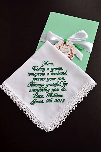 amazon com wedding handkerchief for mother of the groom from son