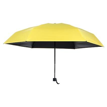 Cinco Paraguas Plegables, Protección contra el Sol UV Paraguas Ultra Ligeros de plástico Negro,