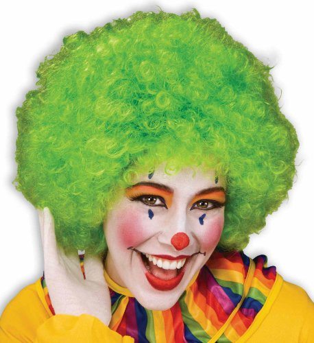 Afro Wigs For Kids (Unisex Afro Wig/ Assorted Color Clown Wigs, Green, One Size)