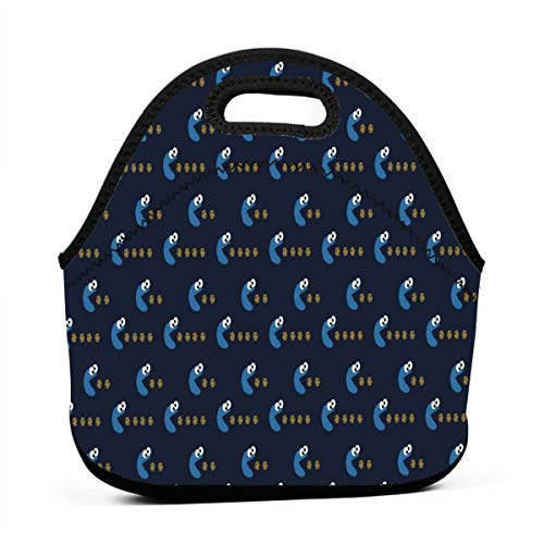 AGRBLUEN Office Workers Students Insulated Cookie Monster Lunch Box Package Neoprene Lunch Bag Practical Food Storage Bag Thermal Bento Bag for Work/School/Picnic
