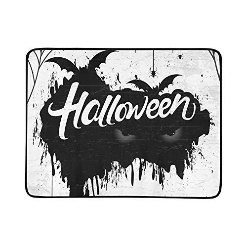 YSWPNA Scary Retro Happy Halloween Stylish Portable and Foldable Blanket Mat 60x78 Inch Handy Mat for Camping Picnic Beach Indoor Outdoor Travel ()
