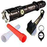 BUNDLE: Klarus XT12 CREE XM-L2 U2 LED Rechargeable 930 Lumens Flashlight w/ 1x RC11 Charging Cradle, 1x KTW-1 Orange Traffic wand, 1x KDF-1 White Diffuser and Lightjunction Keychain Light