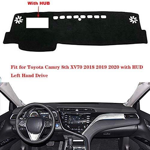 N2Qnice Dashmat for Toyota Camry 8th XV70 2018 2019 2020 with HUD Left Hand Drive Dashboard Cover Dash Pad Car Mat Carpet Custom Car-Styling Accessories