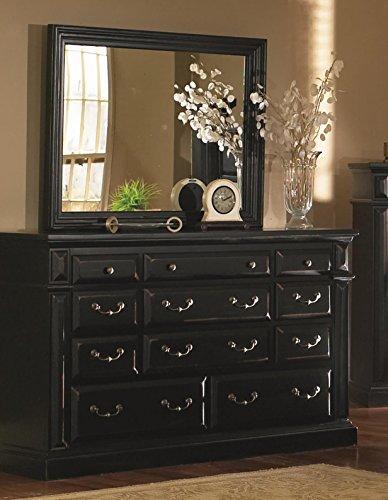 Drawer Dresser with Mirror in Distressed Antique Black - Antique Black Dresser