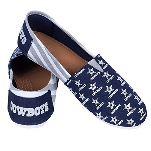 Canvas Ladies on Collectibles Forever Slip Stripes Pick Team Cowboys Shoes Summer 2015 Womens Nfl Football Dallas YwXqa