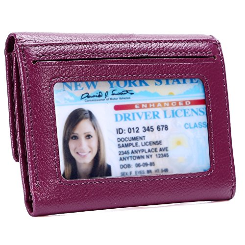 Kinzd Women Trifold Wallet RFID Blocking Wallet Genuine Leather Credit Card Holder