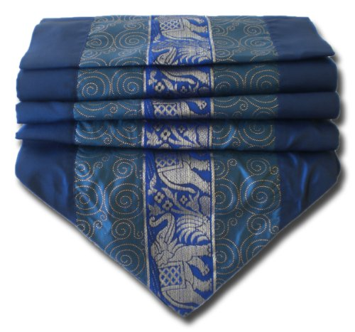soljo - tablecloth tablerunner table runner linen Thai Silk Elegant precious Elephant 150/200/250 cm x 30 cm many colors (blue, 250 cm x 30 cm) by by soljo