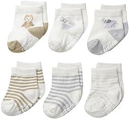 Carter\'s Unisex-Baby Newborn Soft Animal Socks, Multi, 12-24/Medium Months (Pack of 6)