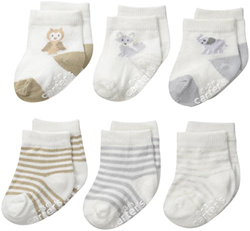 Carter's Unisex-Baby Newborn Soft Animal Socks, Multi, 12-24/Medium Months (Pack of 6)