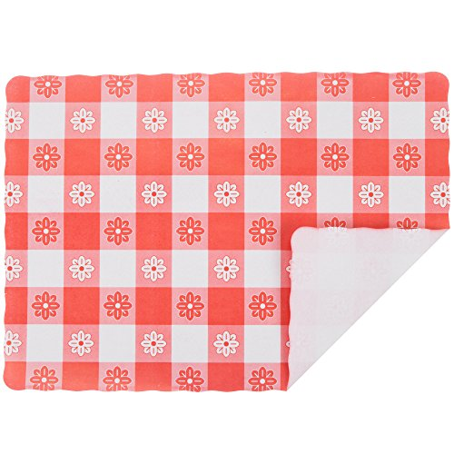 Gingham Mat (Red Gingham Colored Paper Placemat - 1000/Case Size: 10