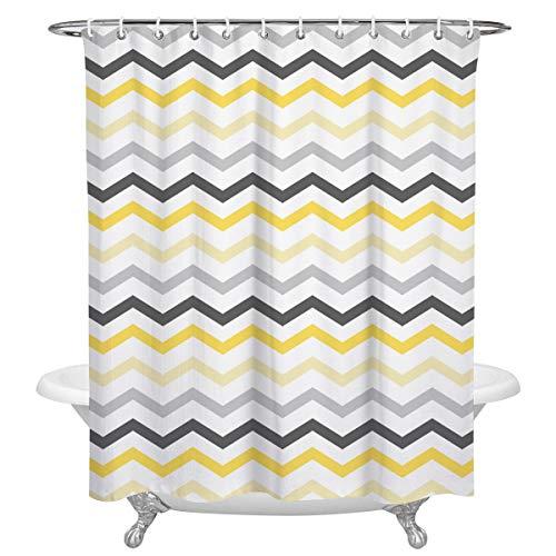 KAROLA Waterproof Custom Bathroom Shower Curtain Polyester Fabric Yellow Grey Black Chevron 72 x 72 Inches (Yellow Curtain Chevron)