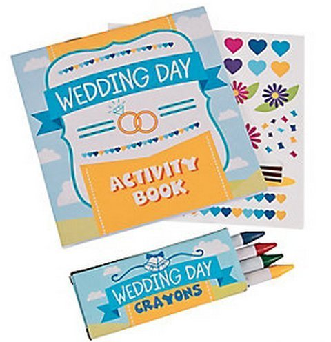 Wedding Day Kids Activity Books with Stickers and Crayons, One Dozen